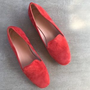 NEW J. Crew Coral Suede Smoking Slippers